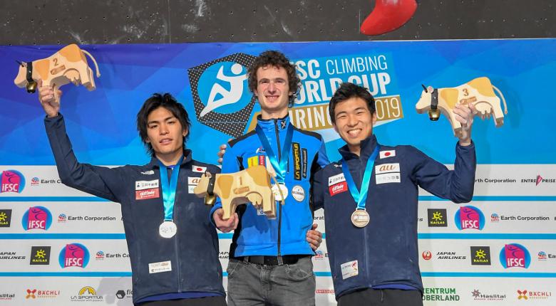 楢崎、野口が2位、杉本が3位/ボルダリングW杯2019開幕戦 マイリンゲン大会