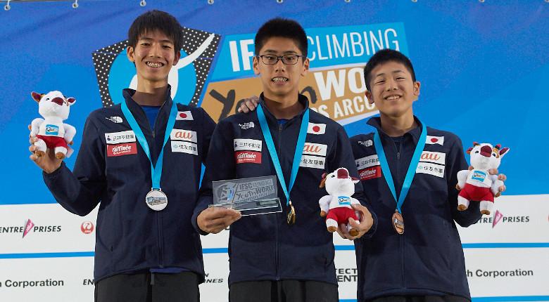 ユースB男子で表彰台独占!日本勢が金2銀3銅1を獲得/IFSC世界ユース選手権2019【リード/ユースB男女&ジュニア男子】